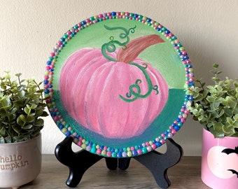 Pink Pumpkin Painting   Pastel Goth   Cottage Core   Halloween Decor