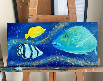 Aquarium Fish Acrylic Painting   Gallery Wrapped Canvas Wall Art   Ocean Bathroom Decor   Ready to Hang   Saltwater Fish   Blue and Gold