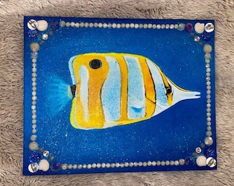 Copper band Butterfly Fish Acrylic Painting on Canvas Panel   Aquarium Painting   Realistic Fish Wall Art   Nautical Themed Bathroom Art