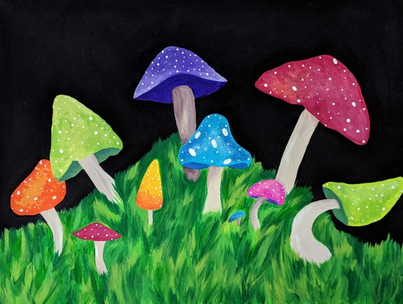 Colorful Mushroom Painting Trippy Painting Hippy Home
