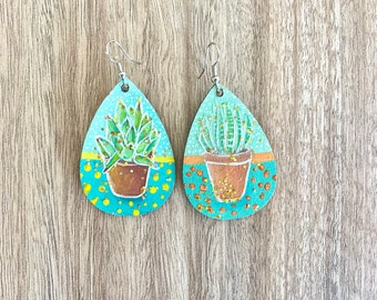 Succulent Earrings   Hand Painted   Plants   Wooden Jewelry  