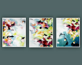 Printable Abstract Art, Instant Digital Download Art, Set of 3 Prints, Modern Art, Contemporary Art, Fine Art, Abstract Flower Painting