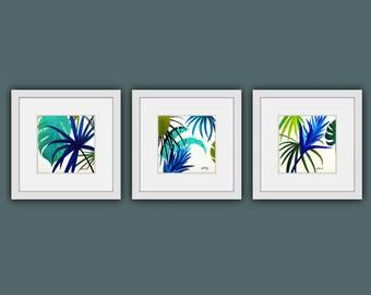 Printable Art, Instant Digital Download Art, Set of 3 Modern Art, Contemporary Art, Plant Painting, Tropical Art, Square Prints