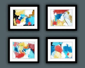 Printable Abstract Art, Instant Digital Download Art, Set of 4 Print, Contemporary Art, Fine Art Prints, Abstract Painting, Modern Art