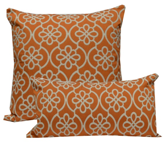 Decorative Pillow Cover Medallion Orange Etsy Awesome Orange And Teal Decorative Pillows