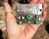 Navajo Belt Buckle, Sterling Silver and Royston Turquoise Buckle, Handmade Sterling Buckle, Sun Spirit and Crosses, Big Silver Buckle