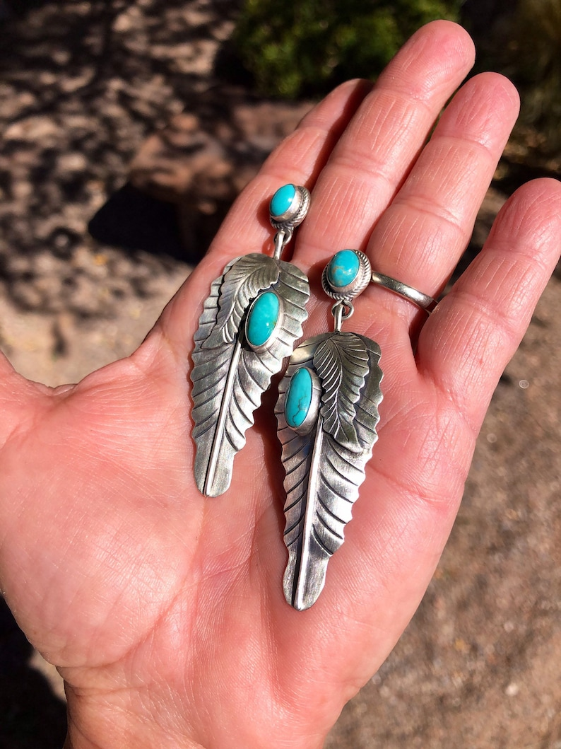 American West Sterling Silver Gemstone Naja Feather Dangle Earrings with Sleeping Beauty Turquoise Stones