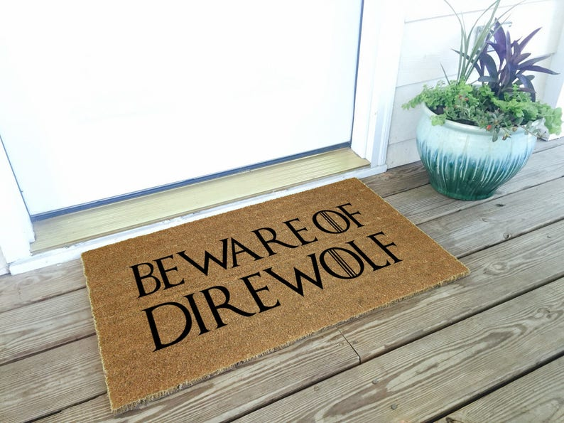 """Coco Coir Doormat 18/"""" x 30/"""" Vinyl Back Beware of Dragon"""