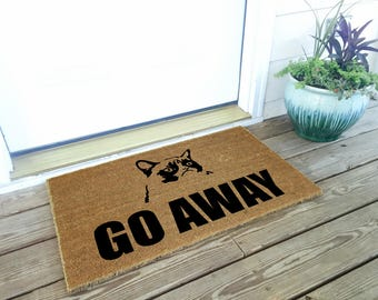 Grumpy Cat - Go Away Door Mat / Funny Welcome Mat / Housewarming Gift