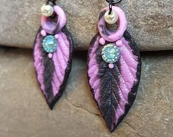 Embossed Leaves Earrings Elves and Fairies Earrings Exclusive handmade piece Black earrings Christmas gift