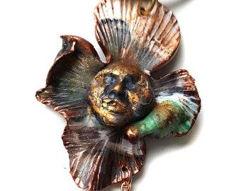 Art Nouveau MASK 1 pendant handmade with polymer clay, unique piece.