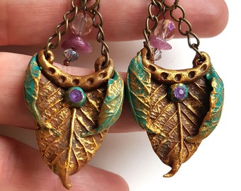 Elven Earrings Light Forest polymer clay hand made, unique piece