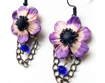 LILAC flower Earrings handmade, hand made unic pieces polymer clay earrings