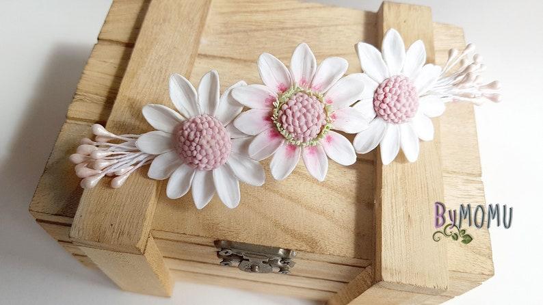 DAISIES Hair Clip Flowers cold porcelain Bride hair accessories-hair clip