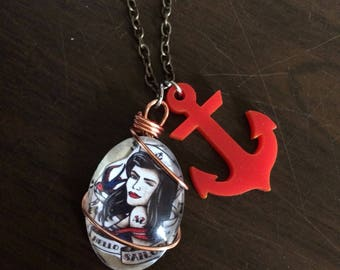 Sailor Jerry Tattoo Style Necklace
