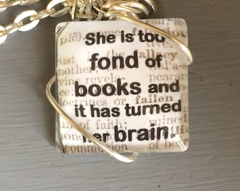Louisa May Alcott book quote necklace
