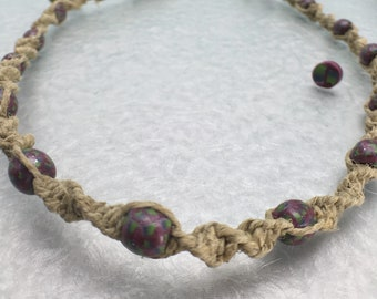 Hippie Necklace with Handmade Beads, Funky Clay Beads on Natural Hemp Jewelry
