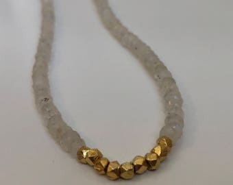 Reflected Moonlight Moonstone & Gold Necklace (Moonbeams Collection)