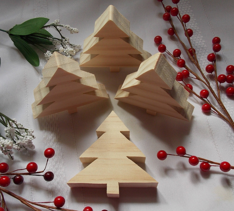 Christmas Trees Small DIY Wood Decorations Set of Four
