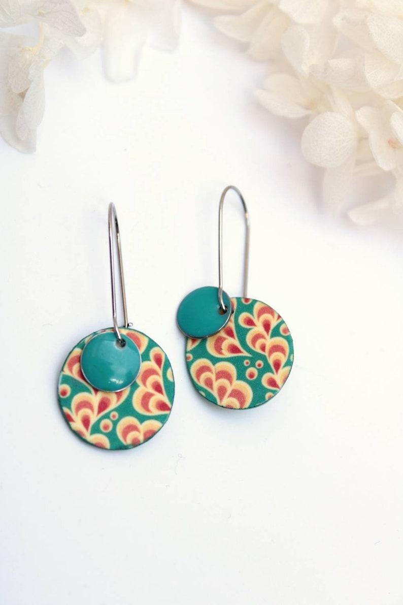 colorful earrings spring earrings enamel earrings and shrink plastic pendant earrings Turquoise earrings
