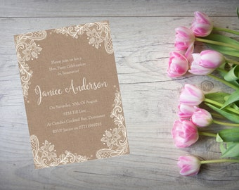 10 x Personalised Hen Engagement Birthday Party Invitations