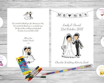 Personalised Childrens Kids Wedding Activity Pack Book Favour Cute Mr Mrs AB37