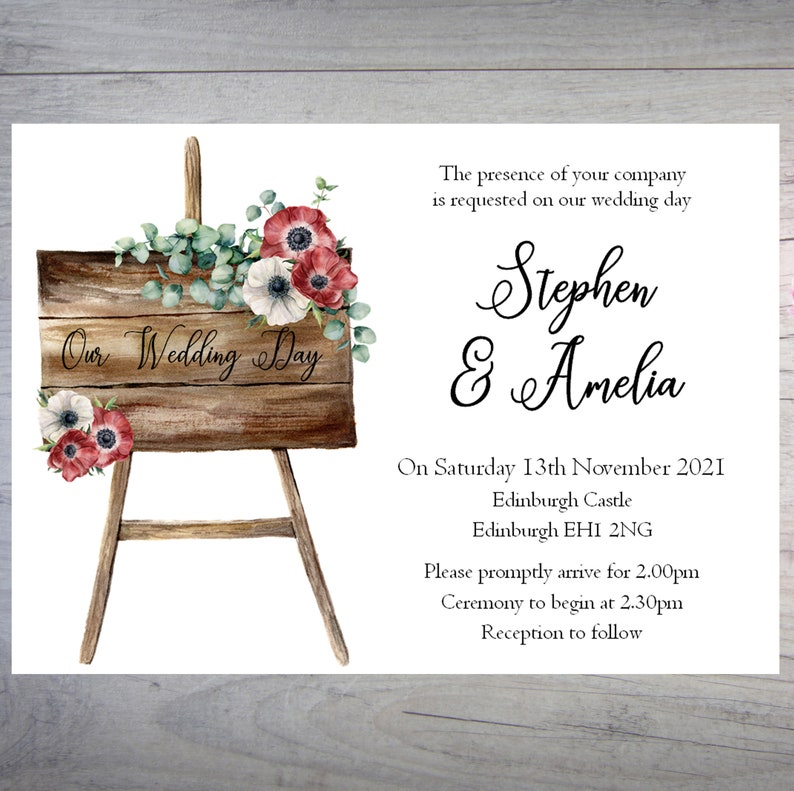 Personalised Bridesmaids Poem Wedding Invitation Card with Matching Envelopes