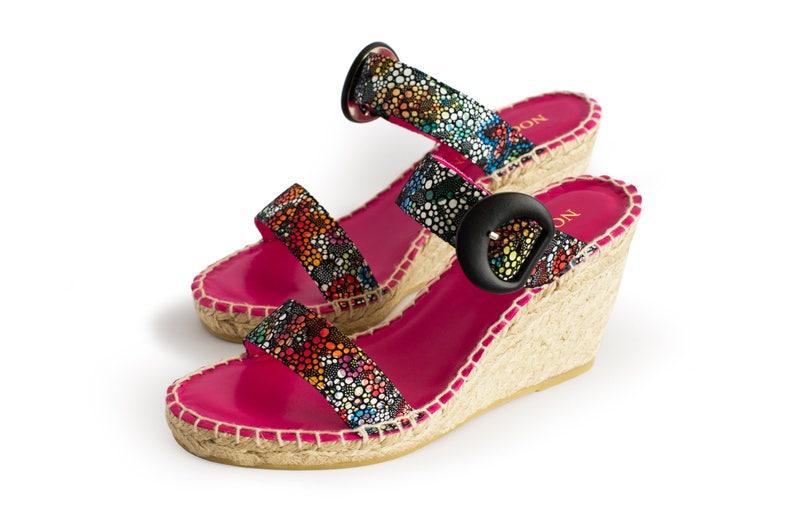 De Orquidea Mujer Cuña Zapatos Sandalia Marina PielEtsy EHIW29DY
