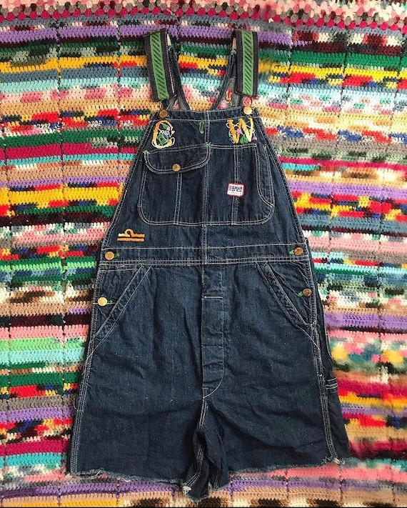 1970s embroidered shorteralls