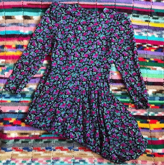 Ditsy floral 1980s midi dress