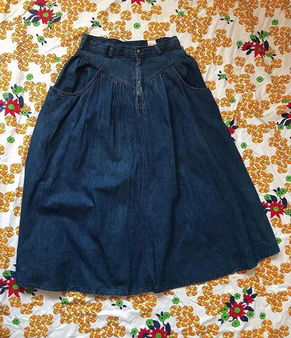 1980s jordache denim midi skirt