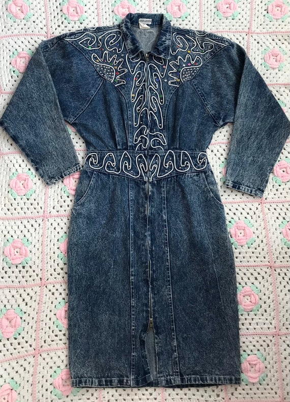 1980s bejeweled western style acid wash denim dres