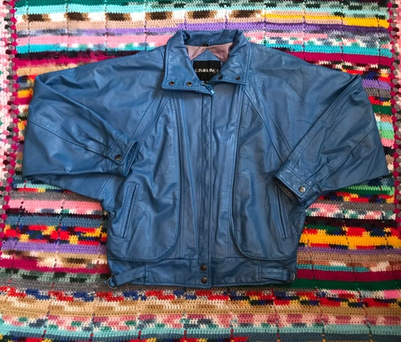 1980s teal leather jacket