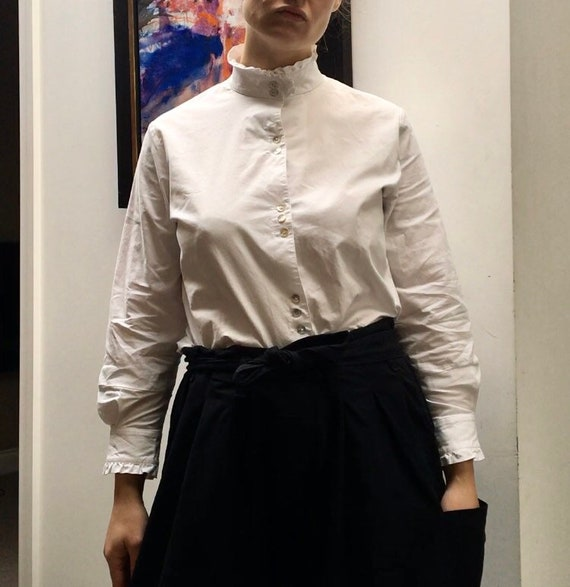 Vintage white cotton blouse with high ruffled nec… - image 6