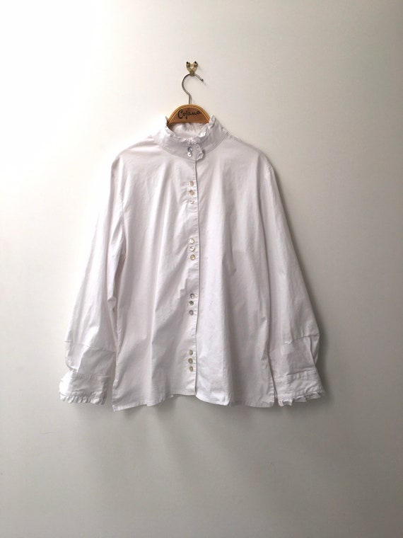 Vintage white cotton blouse with high ruffled nec… - image 2
