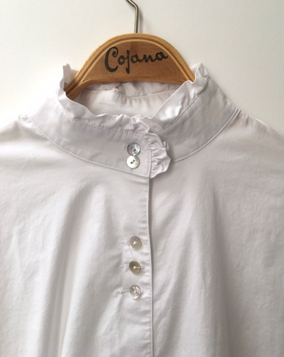Vintage white cotton blouse with high ruffled neck