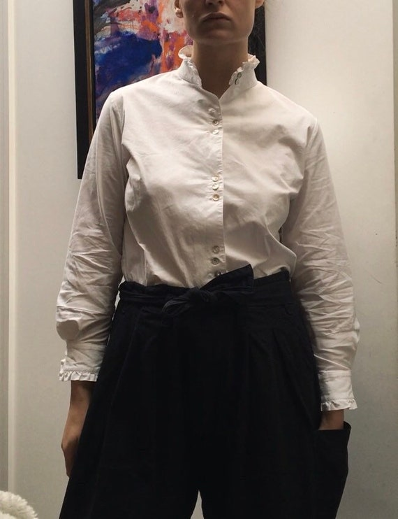 Vintage white cotton blouse with high ruffled nec… - image 7