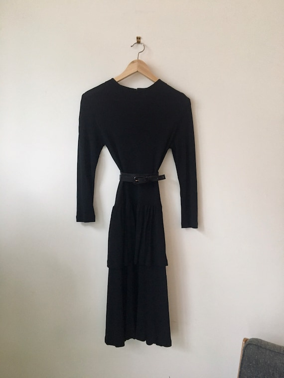 Vintage 70s Jaeger rayon black dress with tiered s