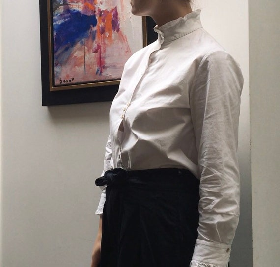 Vintage white cotton blouse with high ruffled nec… - image 5