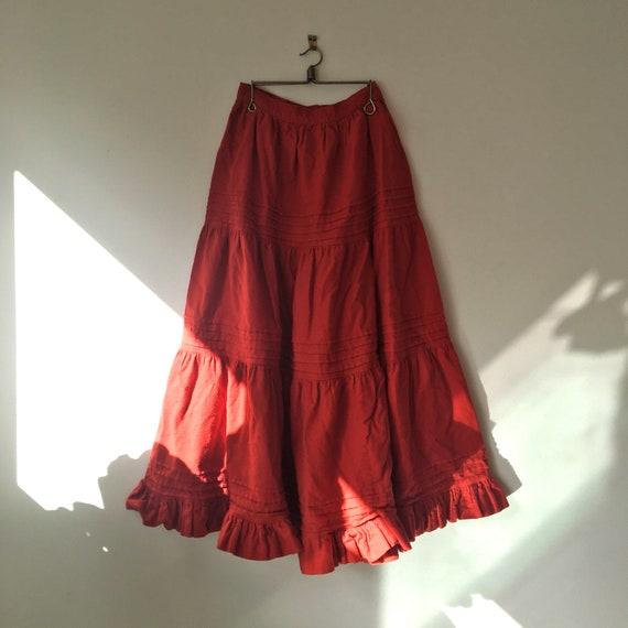 Vintage Laura Ashley 70s red ruffled skirt