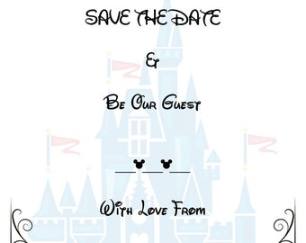 disney inspired save the date for weddings cinderella and beauty and the beast fairytale themed save the date print at home
