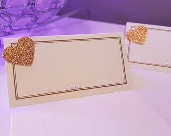 50 rose gold and ivory love heart place cards. wedding, birthday or dinner parties. Beautifully finished with care.