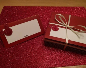 50 x Red and white disney Mickey Mouse inspired place cards. wedding, birthday or dinner parties. Low cost, beautifully finished with care.