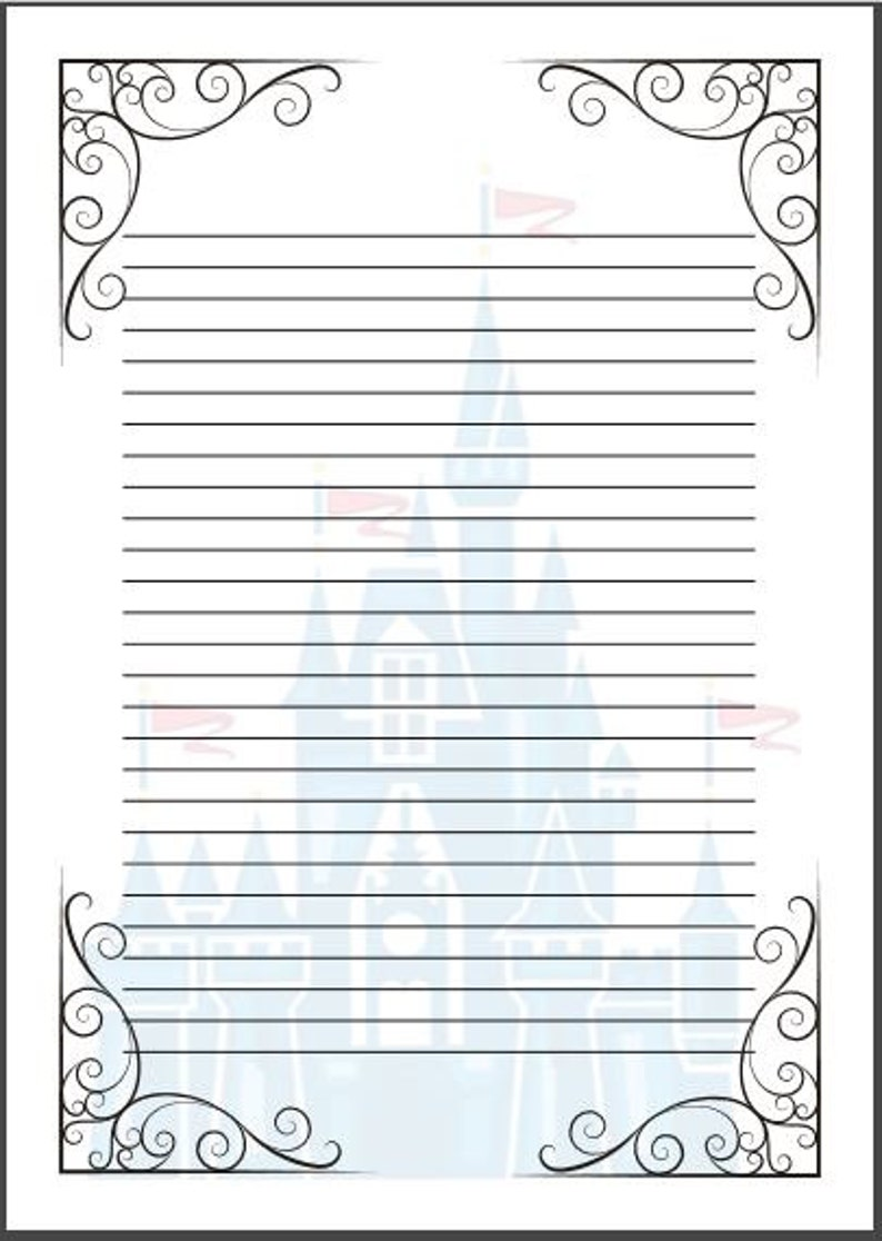 Fairy Tale Writing Paper Template A4 Cinderella Disney Etsy