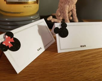 50 White, black, silver Mickey & Minnie Mouse inspired place cards. wedding, birthday or events . Low cost, beautifully finished with care.