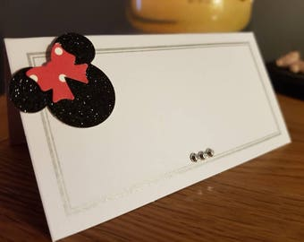 50 White, black & silver disney Minnie Mouse inspired place cards. wedding, birthday or events . Low cost, beautifully finished with care.