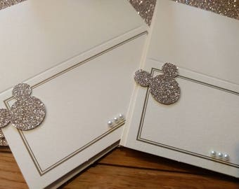 50 gold, ivory and champagne disney Mickey Mouse inspired place cards. wedding, birthday or dinner parties. Beautifully finished with care.