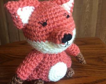 Fox Crocheted Stuffed Toy   Woodland Nursery Animal   Wild Critter Plushy   Handcrafted Fox Toy   Handmade Toy   Wild Animal Plushy