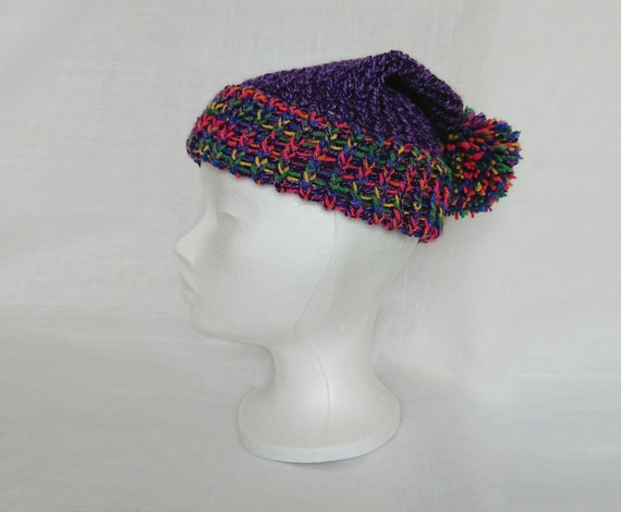 3259d88c411 Purple slouch hat knitted multi-colored bobble slouchy hat pom