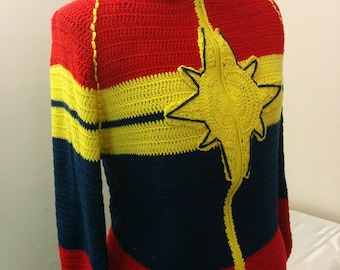 Captain Marvel Jacket; Ready to Ship: Captain Marvel Jacket / Carol Danvers / Crochet